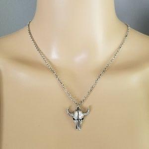 Jewelry - Boho SILVER Cow Skull Amulet Pendant Necklace Boho